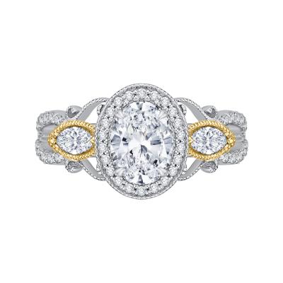 18K Two-Tone Gold 5/8 CtOval Cut Diamond Engagement Ring (Semi-Mount)