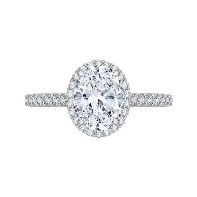 18K White Gold 3/8 Ct Oval Cut Diamond Engagement Ring (Semi-Mount)