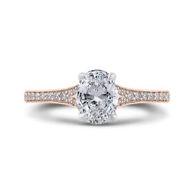 14K Two-Tone Gold Oval Cut Diamond Engagement Ring (Semi-Mount)