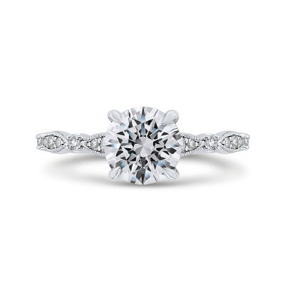 Round Diamond Engagement Ring In 14K White Gold (Semi-Mount)