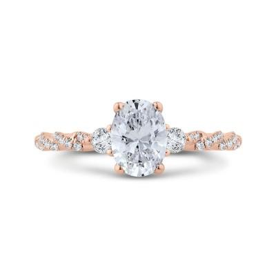 14K Rose Gold Diamond Engagement Ring (Semi-Mount)
