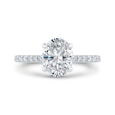 14K White Gold Oval Cut Diamond Solitaire Plus Engagement Ring (Semi-Mount)