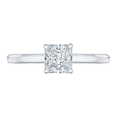 18K White Gold Princess Cut Diamond Engagement Ring (Semi-Mount)