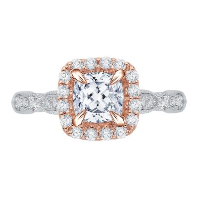 18K Two-Tone Gold 3/8 Ct Cushion Cut Diamond Engagement Ring (Semi-Mount)