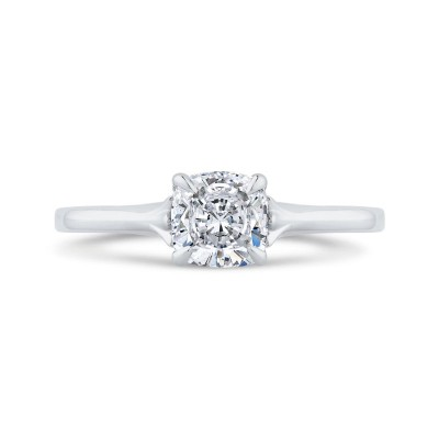 14K White Gold Cushion Diamond Solitaire Plus Engagement Ring  (Semi-Mount)