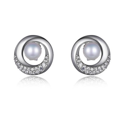 Lady's Silver Sterling Silver Pearl Studs Earrings