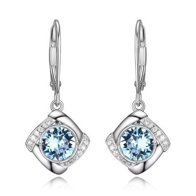 Lady's Silver Polished Sterling Silver Swarovski Aquamarine Earrings