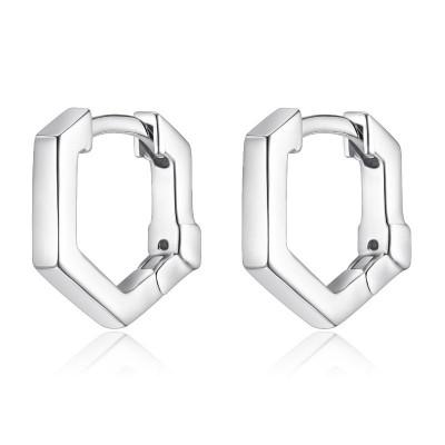 Lady's Silver Polished Sterling Silver Hoops Earrings