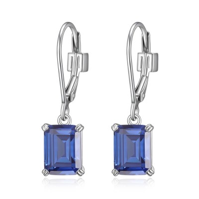 Lady's Silver Polished Sterling Silver Leverbacks Earrings