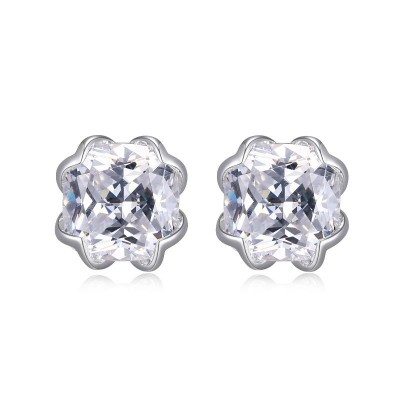 Lady's Silver Polished Sterling Silver Studs Earrings
