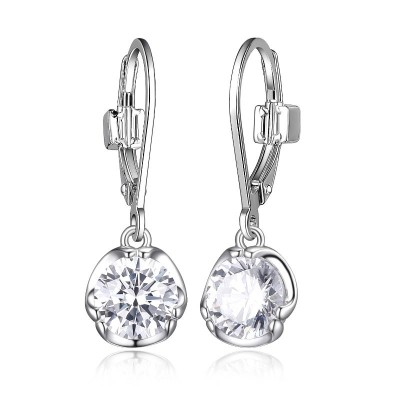 Silver Polished Silver Round Cz Dangle Earrings