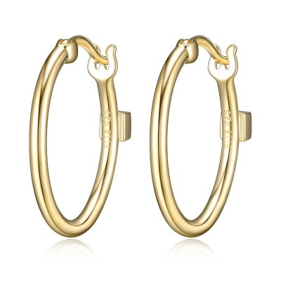 Lady's Yellow Polished Sterling Silver Hoops Earrings