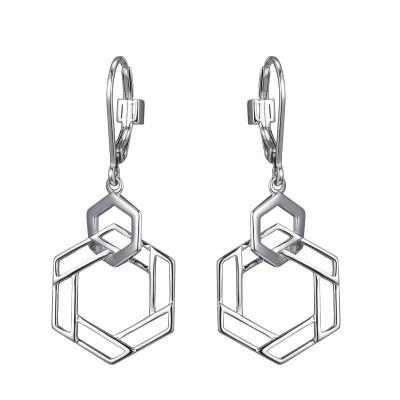 Silver Polished Silver Intertwined Hexgon Dangle Earrings