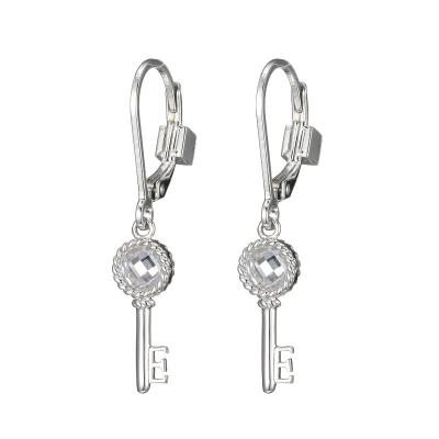 Lady's Silver Polished Sterling Silver Key Leverback Earrings