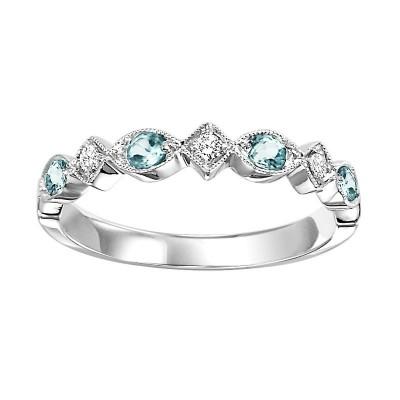 10K Blue Topaz & Diamond Mixable Ring