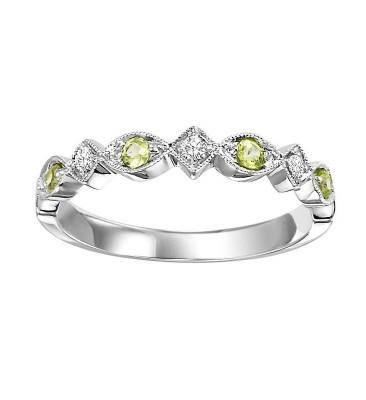 10K Peridot & Diamond Mixable Ring