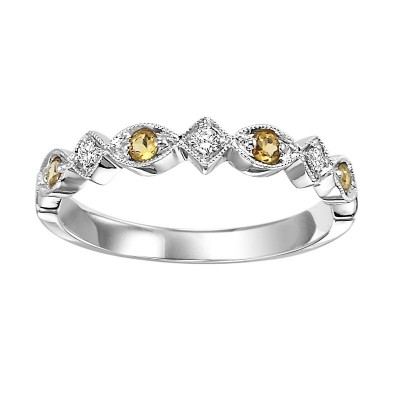10K Citrine & Diamond Mixable Ring