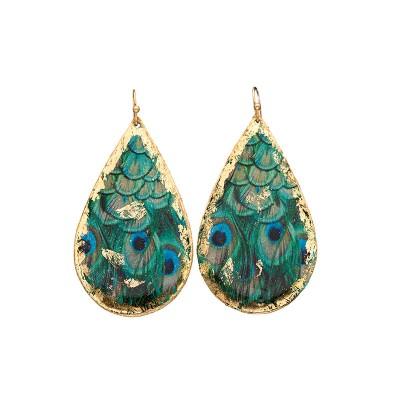 Feathered Peacock Teardrop Earrings