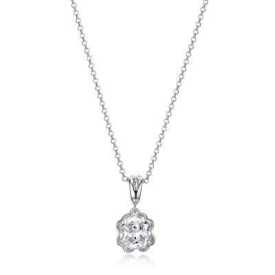Lady's Silver Necklace With Cushion Cz Pendant