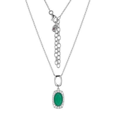 Lady's Silver Polished Sterling Silver Chrysoprase Pendant