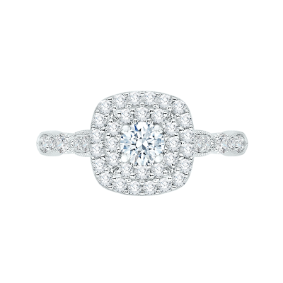 14Kt White Gold Round Diamond Double Halo Engagement Ring, .77 CTTW
