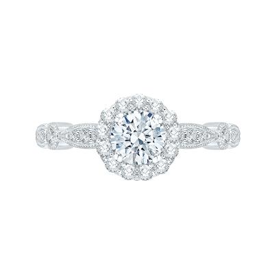14Kt White Gold Round Diamond  Halo Engagement Ring, .75 CTTW