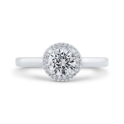 14K White Gold Round Double Halo Diamond Engagement Ring (Semi-Mount)