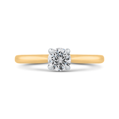 14K Two Tone Gold Round Cut Diamond Solitaire Engagement Ring (Semi-Mount)