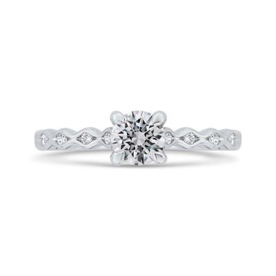 14K White Gold Round Diamond Engagement Ring with Round Shank (Semi-Mount)