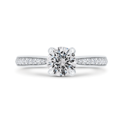 14K White Gold Round Diamond Solitaire Plus Engagement Ring (Semi-Mount)