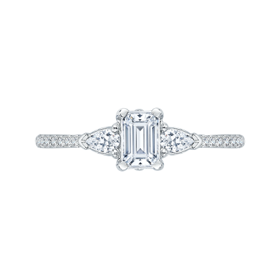 14Kt White Gold Emerald Cut and Pear Engagement Ring, .80 CTTW