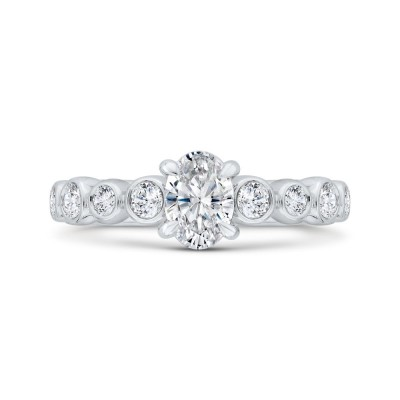 14K White Gold Bezel Set Oval Diamond Engagement Ring (Semi-Mount)