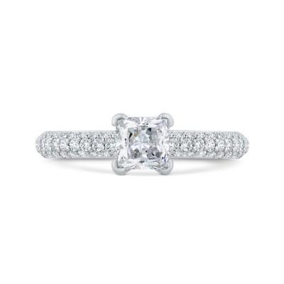 14K White Gold Princess Diamond Engagement Ring with Round Shank