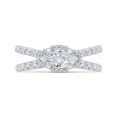 14K White Gold Marquise Diamond Engagement Ring with Split Shank (Semi-Mount)