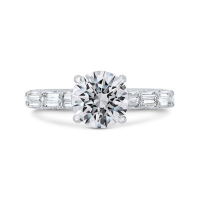 18K White Gold Baguette and Round Diamond Engagement Ring with Round Shank (Semi-Mount)