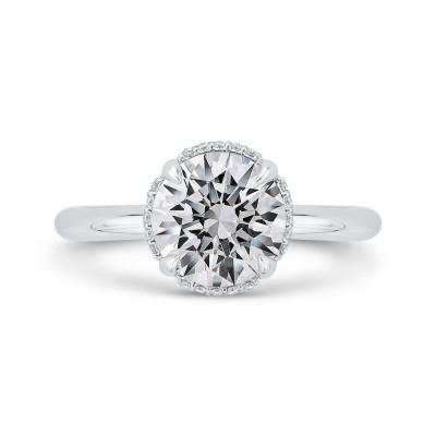 18K White Gold Round Halo Diamond Engagement Ring  (Semi-Mount)