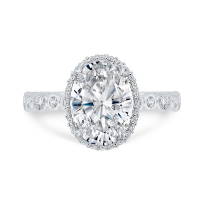 18K White Gold Oval and Round Diamond Engagement Ring with Round Shank (Semi-Mount)
