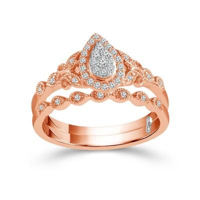 14K Rose Gold Matching Set Engagement Ring
