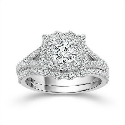 14K White Gold Bridal Set Engagement Ring