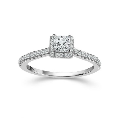 14KT White Gold 1/2Ctw Halo Engagment Ring
