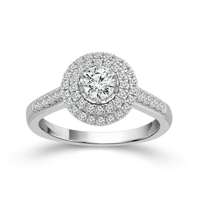 White Gold Round Diamond Double Halo Engagement Ring 3/4ctw