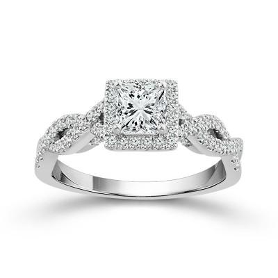 14K White Gold  Twisted Halo Engagement Ring