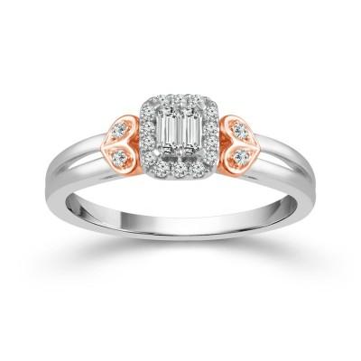 Two Tone 10 Karat Split Shank Engagement Ring