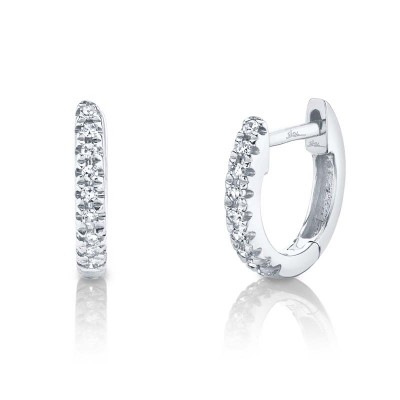 0.04ct 14k White Gold Diamond Huggie Earring