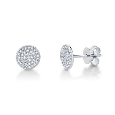 0.17ct 14k White Gold Diamond Pave Stud Earring