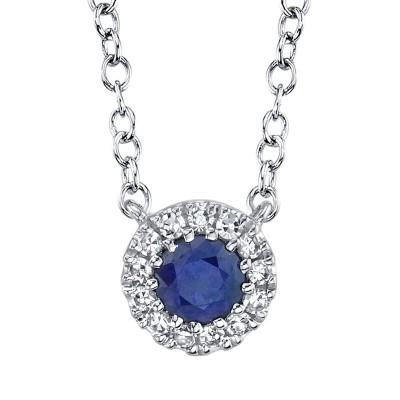 0.04ct Diamond & 0.14ct Blue Sapphire 14k White Gold Diamond Necklace