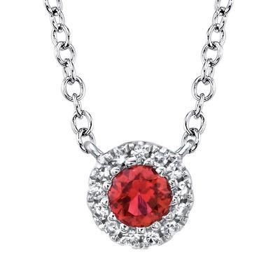 14K White Ruby & Diamond Pendant