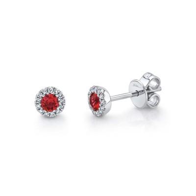 0.08Ct Diamond & 0.28Ct Ruby Stud Earring