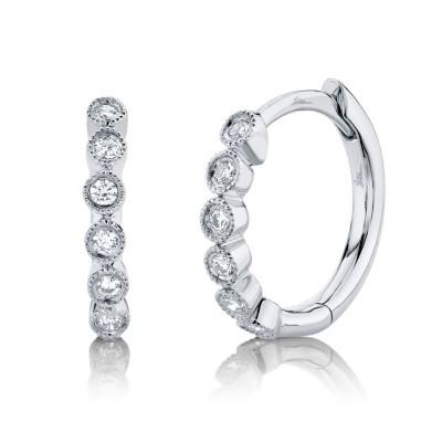 0.11ct 14k White Gold Diamond Huggie Earring