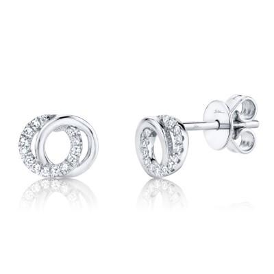 0.09ct 14k White Gold Diamond Circle Earring